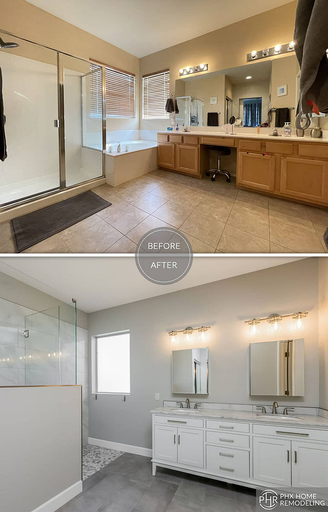 white master bathroom vanity remodel with 2 mirrors and flooring chandler az