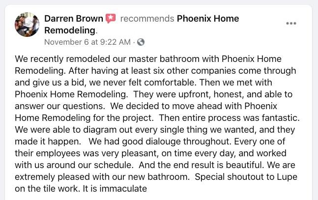 Darren B recommendation Phoenix Home Remodeling