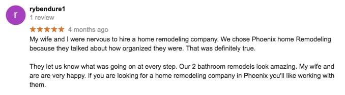 Ryan Bendure review of Phoenix Home Remodel