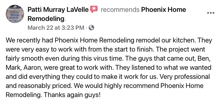 Patti L review of kitchen remodel