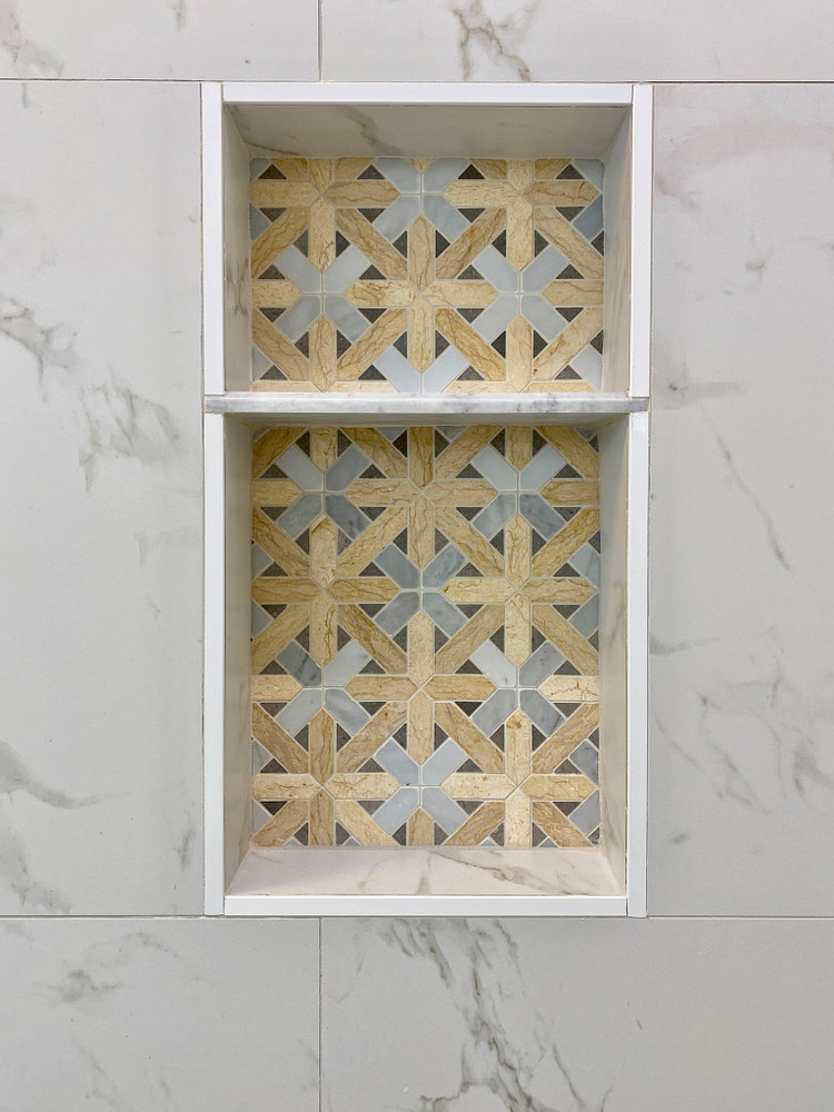 shower wall niche tile