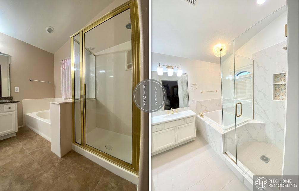 white shower remodel in chandler