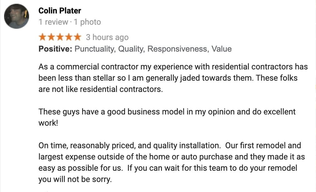 Colin Plater - Master bathroom remodel review