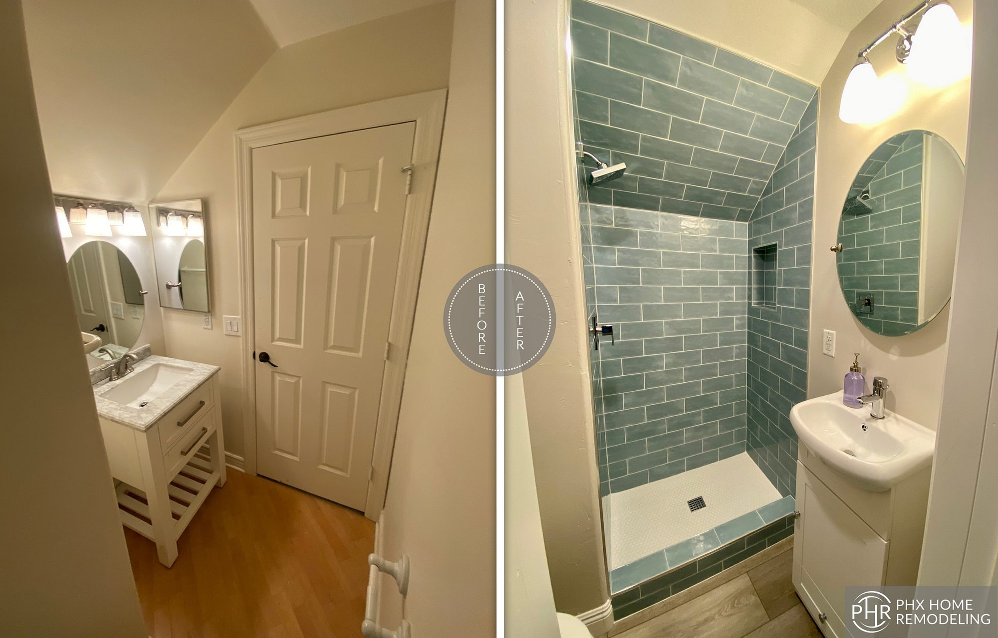 bathroom shower vanity remodel in tempe