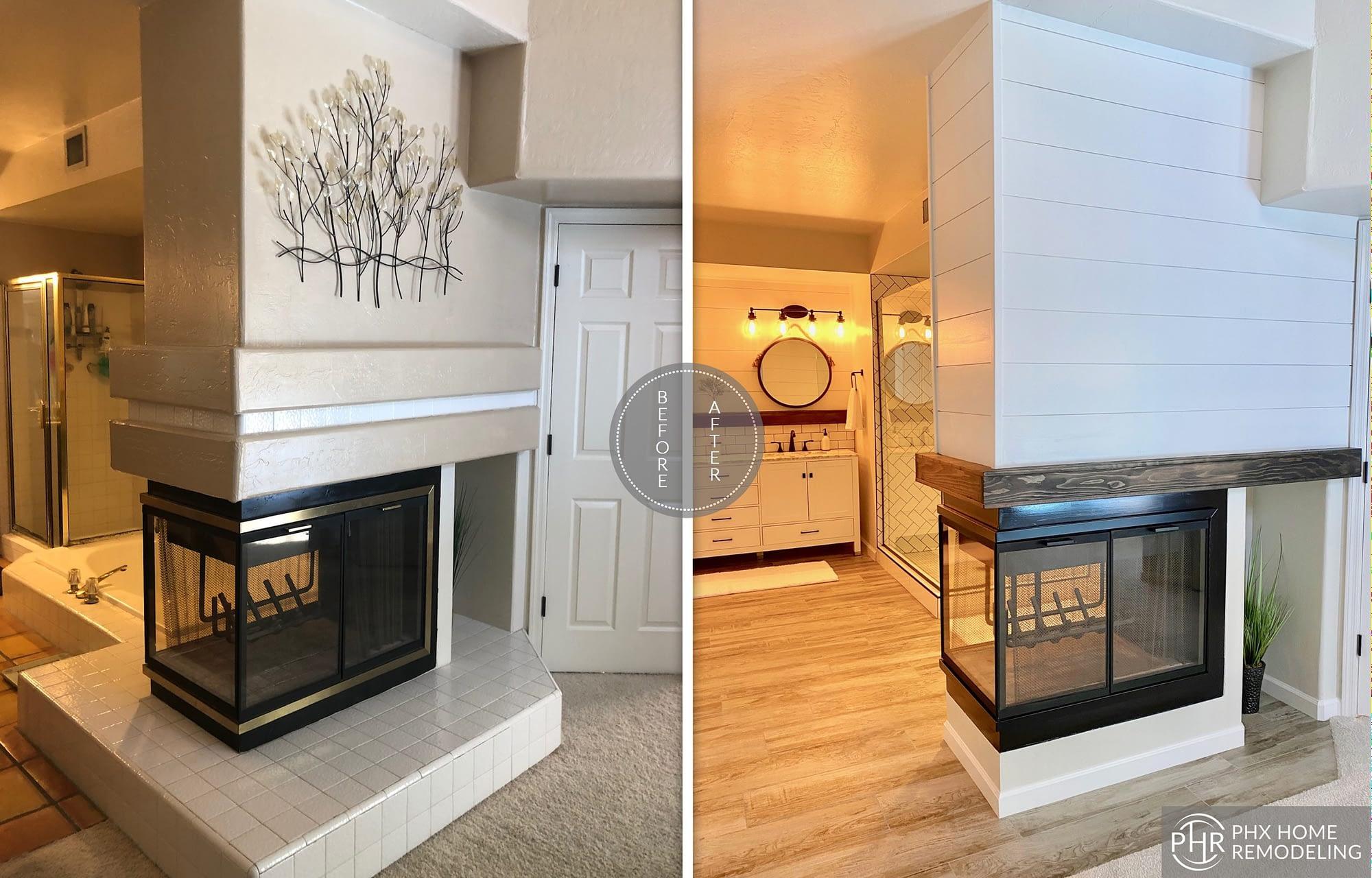 bathroom fireplace remodel in phoenix