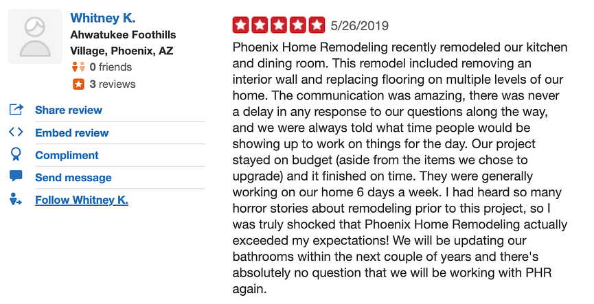 Whitney Stoller Ahwatukee Kitchen Review