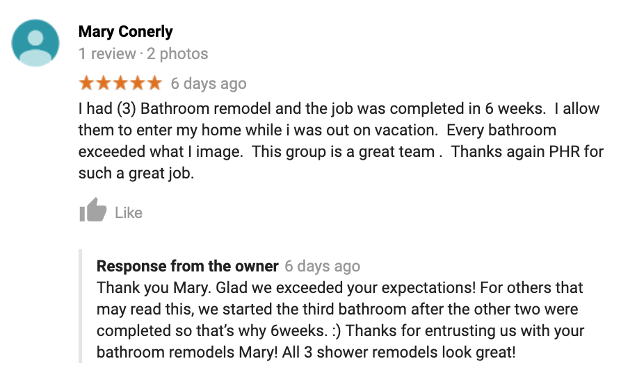 Mary Conerly 3 bathroom remodels in Chandler review