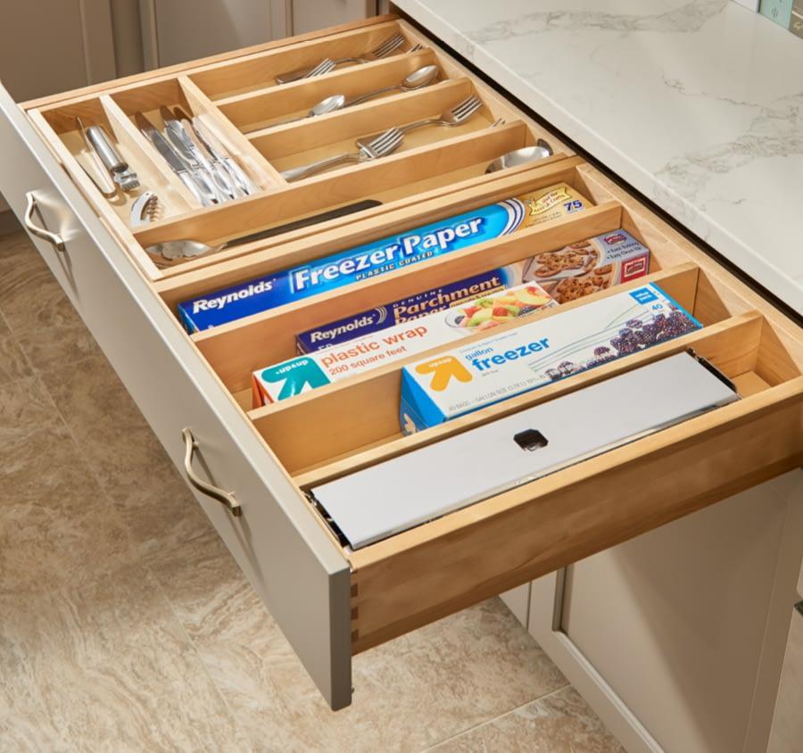 kitchen drawer storage tin foil