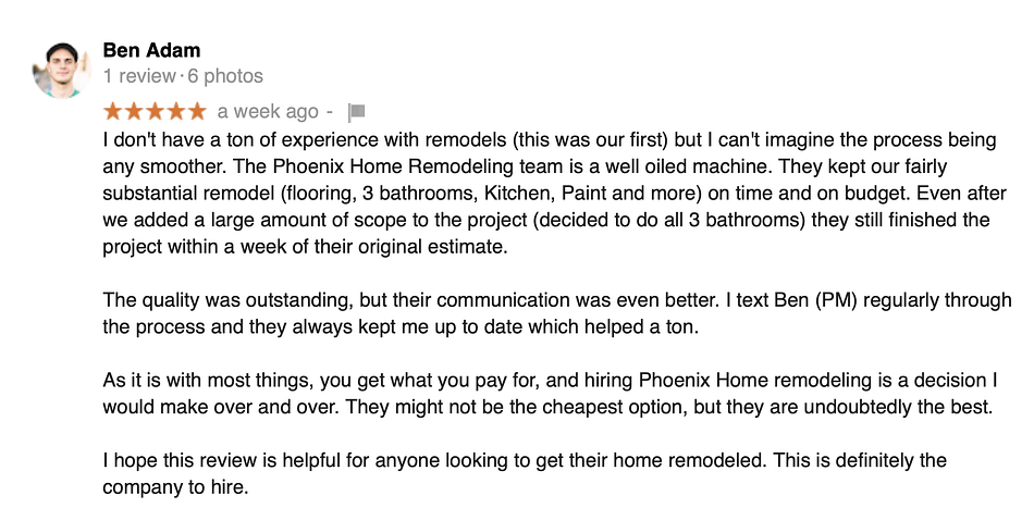 Ben Adams review of kitchen and bathroom remodels