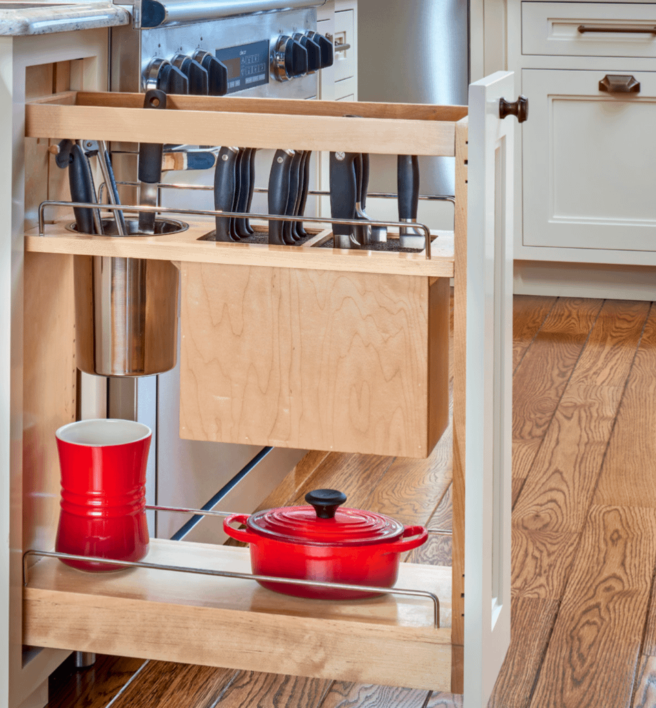 kitchen storage with knife pull out